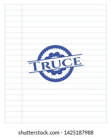 Truce pen draw. Blue ink. Vector Illustration. Detailed.