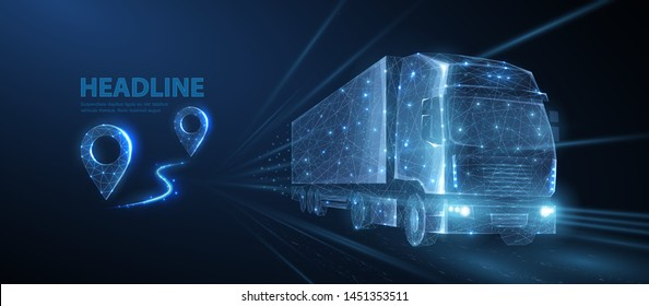 Truck. Abstract 3d heavy lorry van on highway road. Icon pin. Isolated on blue. Transportation vehicle, delivery transport, cargo logistic concept. Freight shipping, international delivering industry.