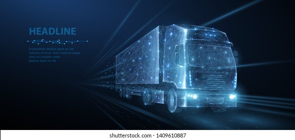Truck. Abstract vector 3d heavy lorry van. Highway road. Isolated on blue. Transportation vehicle, delivery transport, cargo logistic concept. Freight shipping, international delivering industry.
