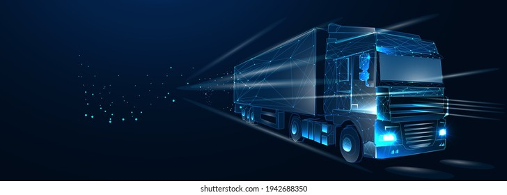 Truck. Abstract vector 3d heavy lorry van. Highway road. Isolated on  dark blue background. Transportation, logistics or international shipping concept. Digital polygonal low poly 3d mesh illustration
