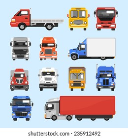 Truck auto delivery transport vehicles decorative icons flat set isolated vector illustration