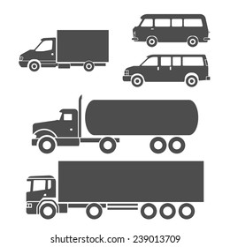 Truck auto delivery transport vehicles decorative icons set isolated vector illustration