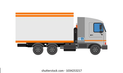 Truck with awning. Technics for cargo transportation. Isolated icon. Vector illustration