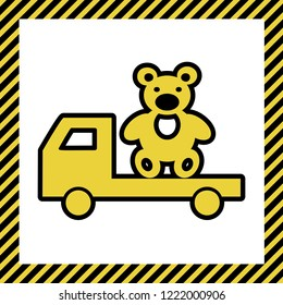 Truck with bear. Vector. Warm yellow icon with black contour in frame named as under construction at white background. Isolated.