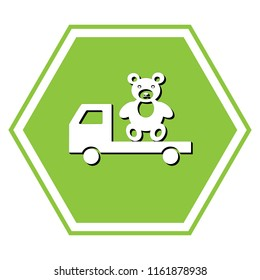 Truck with bear. Vector. White icon with black shadow at yellow green honeycomb on white background.