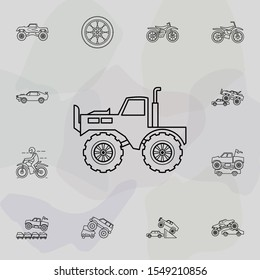 Truck bigfoot car icon. Bigfoot car icons universal set for web and mobile