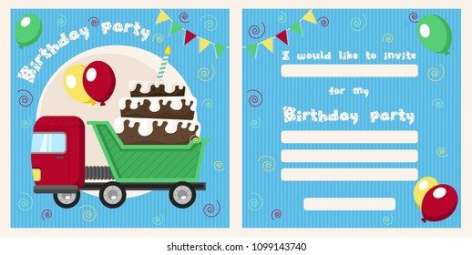 Truck birthday invitation