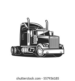 truck black on white isolated vector