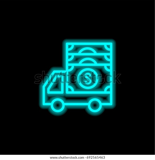 Truck blue glowing neon ui ux icon. Glowing sign logo vector