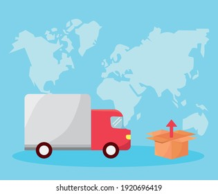 truck and box in the earth planet delivery service icons vector illustration design