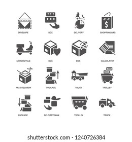 Truck, Box, Envelope, Trolley, Package, Trolley icon 16 set EPS 10 vector format. Icons optimized for both large and small resolutions.