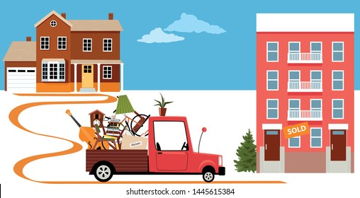 Truck bringing belongings from a family house to a condo building in a process of downsizing and relocation, EPS 8 vector illustration