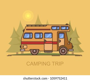 Truck camper at forest or recreational vehicle driving through wood, wildlife landscape with rv, campervan at national park, motorhome at travel or trip. Journey and expedition, transport and vacation