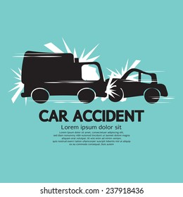 Truck And Car In An Accident Vector Illustration