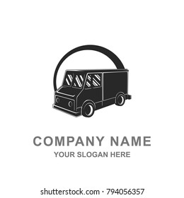 Truck Car Automotive Silhouette Black and White Logo Vector Illustration