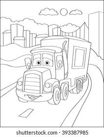 ?artoon truck car  in city, coloring page illustration. Coloring book outdoor sport theme. Funny motor lorry isolated on white background. Vector illustration.