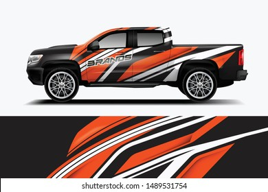 truck and car decal design vector kit. abstract background graphics for vehicle advertisement and vinyl wrap\n