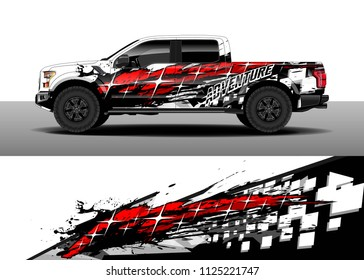 Truck and car decal wrap vector, Graphic abstract racing stripe designs for wrap vehicle