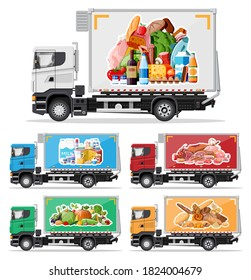 Truck car full of food products. Shop and farm delivering service. Delivery and selling grocery products concept. Meat, milk, bread, vegetables. Cargo and logistic. Cartoon flat vector illustration