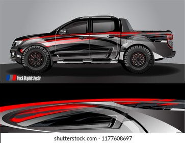 truck and car graphic vector. metallic  curved shape with grunge background design for vehicle vinyl wrap