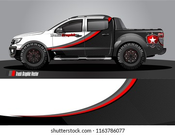 truck and car graphic vector. simple curved shape with grunge background design for vehicle vinyl wrap