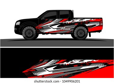 Truck, car And Vehicle racing graphic kit background for wrap and vinyl sticker