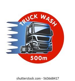 Truck car wash cargo freight logo template illustaration