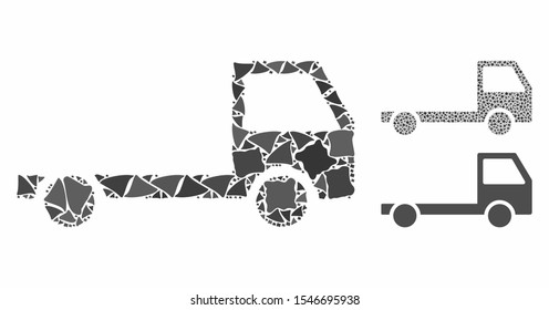 Truck chassis mosaic of joggly elements in various sizes and color hues, based on truck chassis icon. Vector joggly parts are composed into mosaic. Truck chassis icons collage with dotted pattern.