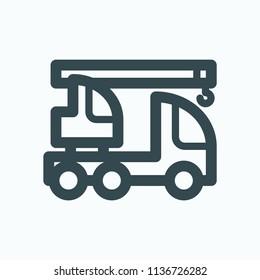 Truck crane icon, construction machines vector icon
