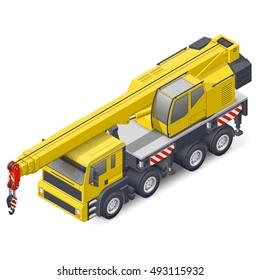 Truck crane isometric detailed icon vector graphic illustration design