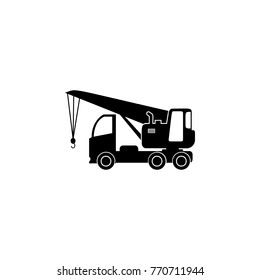Truck Crane Silhouette icon. Illustration of transport elements. Premium quality graphic design icon. Simple icon for websites, web design, mobile app, info graphics on a white background.