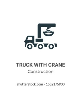 Truck with crane vector icon on white background. Flat vector truck with crane icon symbol sign from modern construction collection for mobile concept and web apps design.