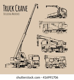 Truck Cranes set. Hand drawn sketch illustration