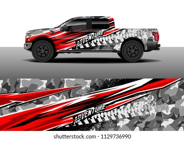 Truck decal designs, cargo van and car wrap vector. Graphic abstract stripe designs for branding, offroad race, adventure and livery car