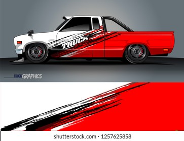 Truck decal sticker wrap design vector. Graphic abstract stripe racing background kit designs for vehicle, race car, rally, adventure and livery