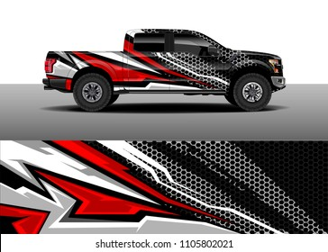Truck Decal vector, Graphic abstract racing designs for vehicle Sticker vinyl wrap