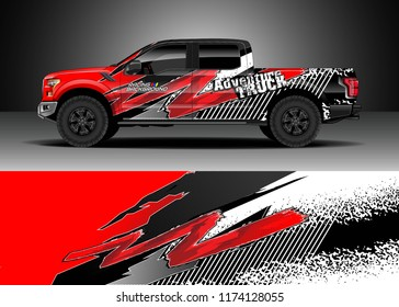 Truck decal wrap design vector. Graphic abstract stripe racing background kit designs for wrap vehicle, race car, rally, adventure and livery