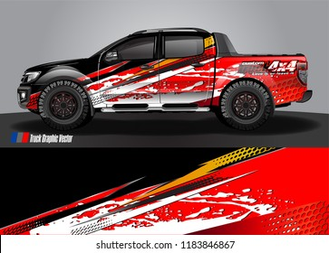 Truck decal wrap design vector. abstract racing graphic stripe background kit for vehicle vinyl, race car sticker, and rally livery