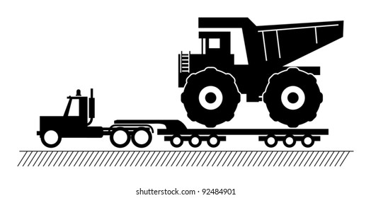 Truck delivers the big dump truck, vector illustration