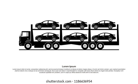 Truck delivers the cars template vector