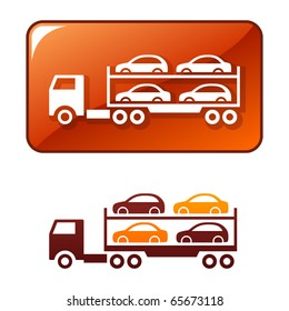 Truck delivers the cars. Vector icon