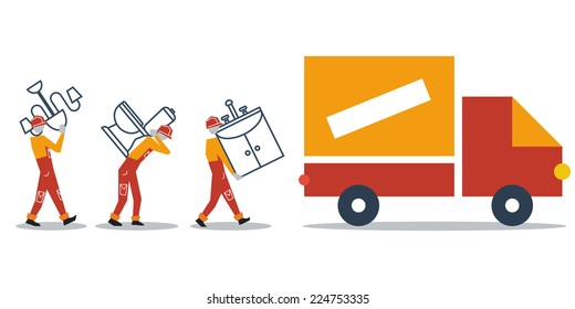 Truck delivery boxes, transportation concept, workers loading