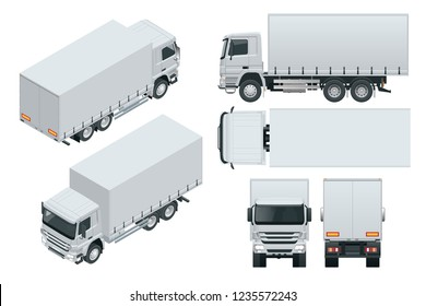 Truck delivery, lorry mock-up isolated template on white background. Isometric, side, front, back, top view.
