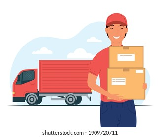 truck and delivery service worker lifting boxes carton vector illustration design