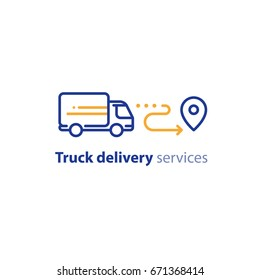 Truck delivery services, fast relocation, transportation company logo elements, shipping order, distribution line icon, rental truck, tracking parcel outline vector