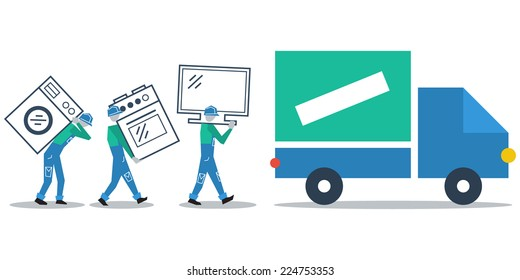 Truck delivery, transportation concept, workers loading