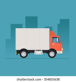 Truck delivery vector illustration isolated on background. Truck car on road in flat style.