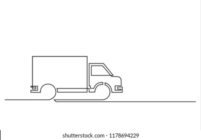 A truck is drawn by a single black line on a white background. Continuous line drawing. Vector illustration.