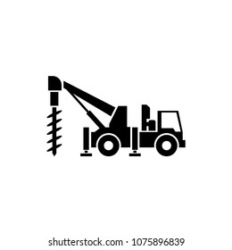 Truck Drilling. Flat Vector Icon. Simple black symbol on white background