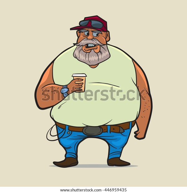 f3514326 truck driver in cap with cup of coffee, cartoon character, trucker, beard,